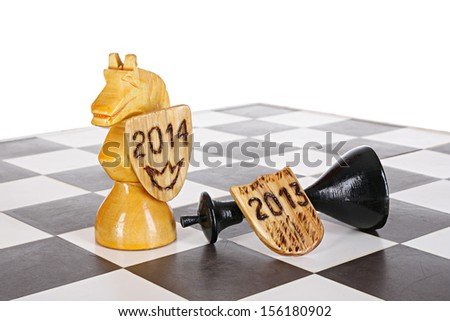 New Year horse idea. Leaving of 2013 year and arrival of 2014 year - stock photo