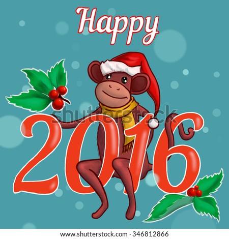 New year illustration with monkey Chinese calendar - stock photo