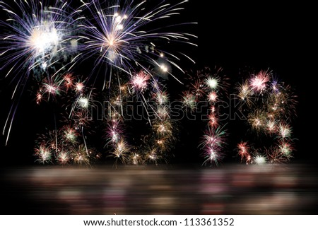 New year 2013 in fireworks numbers - stock photo