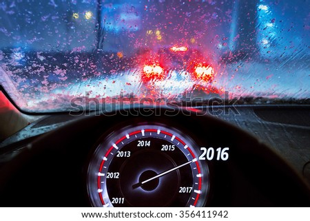 New Year 2016 in the car - stock photo
