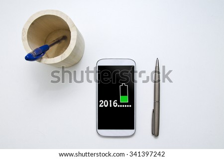 New Year in the mobile phone - stock photo