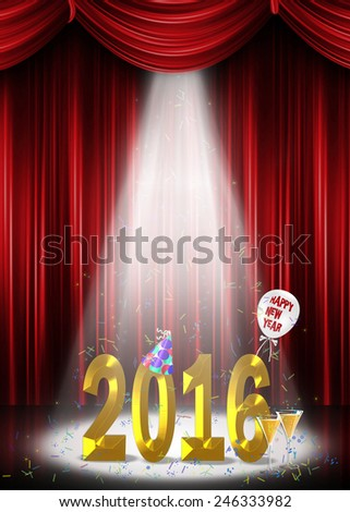 New year 2016 in the spotlight with confetti and hat - stock photo