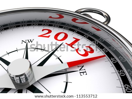 new year 2013 indicated by conceptual compass on white background - stock photo