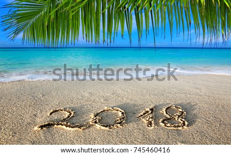 New Year 2018 Inscription written in the wet Caribbean sand.