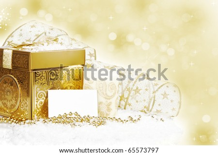 New Year Invitation Card with golden decoration - stock photo