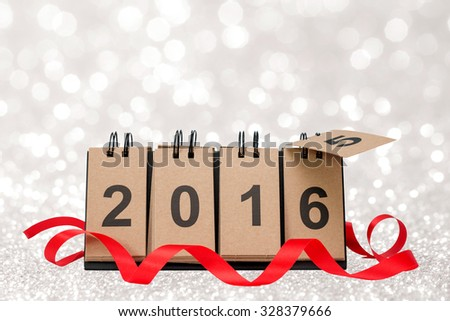 New Year 2016 is coming concept. Happy New Year 2016 replace 2015 concept on blur bokeh background with copy space for your text. - stock photo