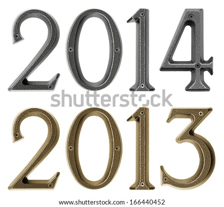 New year 2014 is coming concept - metal numbers 2013 and 2014, isolated over white background - stock photo