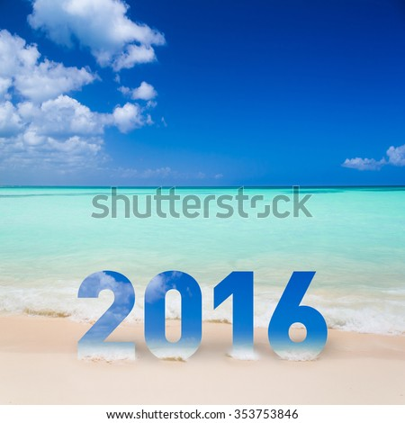 New Year 2016 is coming concept on the beach - stock photo