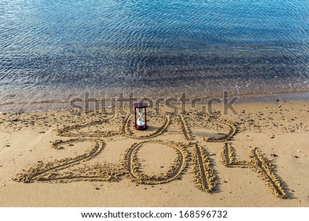 New year is coming to the golden beach of Eilat, Red Sea, Israel - stock photo