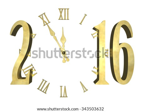 New year 2016 - isolated concept  - stock photo