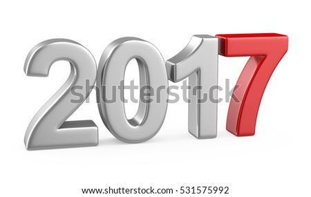 New Year 2017 isolated on white background. 3d renderer image.