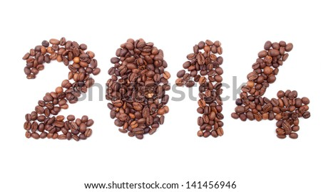 New year 2014 made from coffee beans on the white background - stock photo