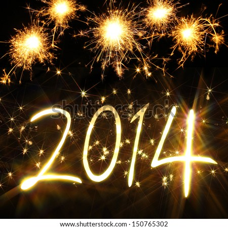 New Year 2014 made of real light and sparkles - stock photo