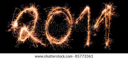New Year 2011 made of real sparkles - stock photo