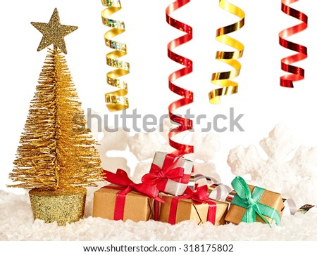 New Year 2016. Merry Christmas. Party festive decoration, Christmas tree and presents, serpentine, snowflakes, snow. Happy holiday. Vivid greeting card multicolored gift boxes, green red gold - stock photo