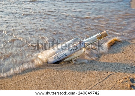 new year message in a bottle for 2015 - stock photo