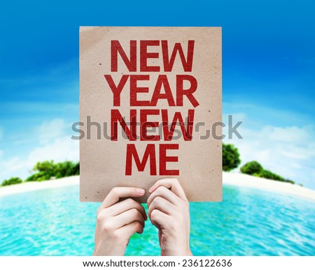 New Year New Me card with a beach on background - stock photo
