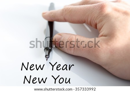 New year new you text concept isolated over white background - stock photo