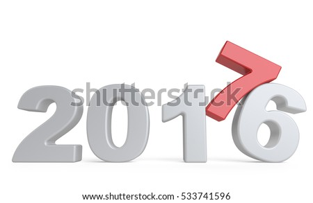 New Year 2016 - 2017, number seven top. 3d illustration isolated on a white background.