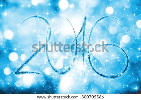New year 2016 on a blue bokeh background - stock photo