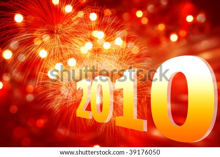 New Year 2010 on a red background with lights and fireworks fire - stock photo