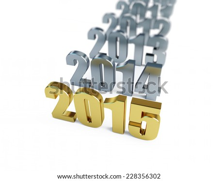 new year 2015 on a white background  - stock photo