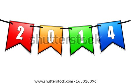 new year 2014 on 3d colored flags on a rope isolated over white background - stock photo