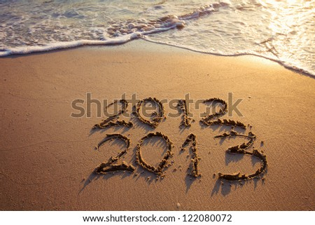 new year on the beach - stock photo