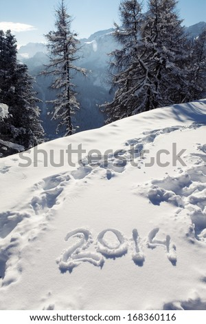 New Year 2014 on the snow - stock photo