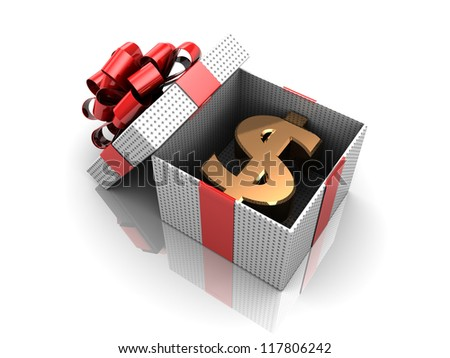 New year opened gift, 3d image - stock photo