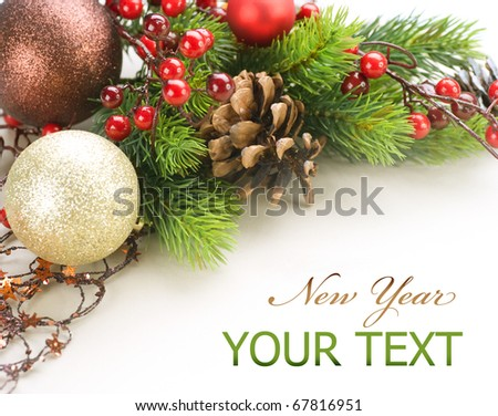 New Year or Christmas Decorations border design - stock photo