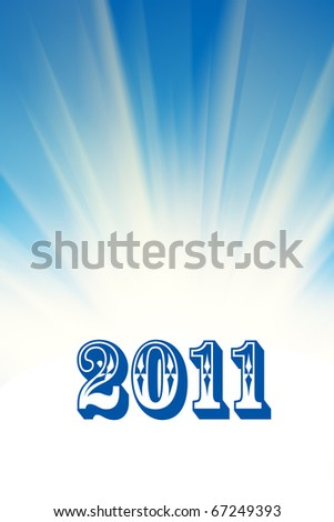 New 2011 year over abstract white rays and blue sky background. - stock photo