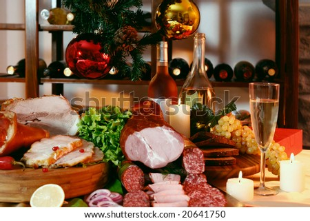 New Year party table on wine rack background.