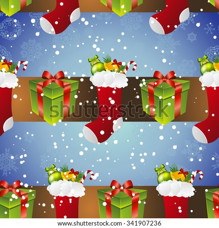 New year pattern with sock for gifts and gift.  Backdrop with snowflakes.  - stock photo