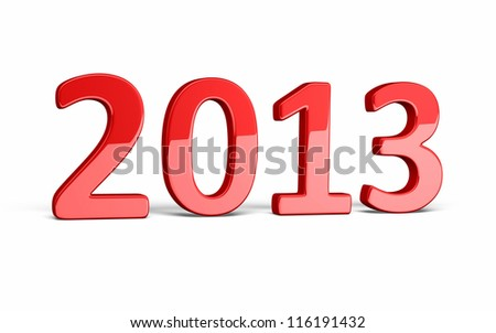 New Year 2013 red render (isolated on white and clipping path)