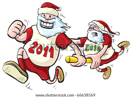 New Year Relay race. JPEG version. - stock photo