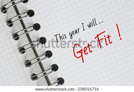 New Year Resolution, Get Fit. - stock photo