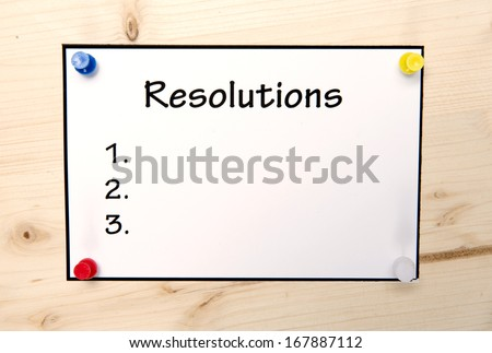 New year Resolutions Note in Blank  - stock photo