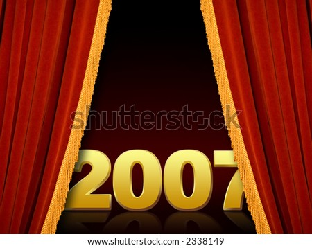 New Year 2007 revealing through the stage curtains - stock photo