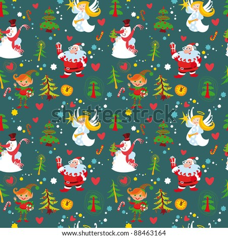 New Year's background, Christmas seamless wallpaper pattern. Bitmap copy my vector ID 88124986 - stock photo
