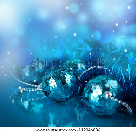 New Year's card with blue balls and a streamer - stock photo