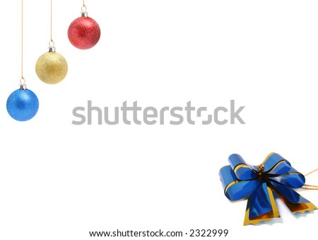New Year's celebratory ornaments of three colors and gift bow-butterfly of dark blue color - stock photo