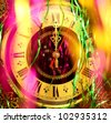 New year's clock and Decorations. - stock photo