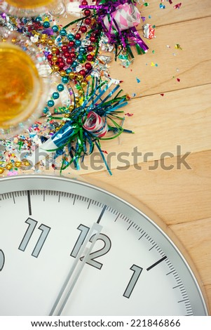 New Year's Eve Background With Champagne And Clock - stock photo