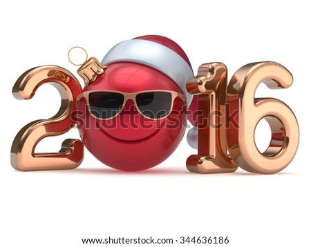 New 2016 Year's Eve calendar date smiley face emoticon bauble Christmas ball cartoon decoration Santa hat glasses person cute red gold. Happy Merry Xmas cheerful smile laughing joy character 3d render - stock photo
