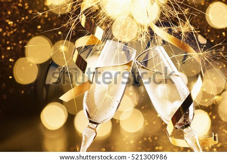 New Year's Eve celebration background with champagne