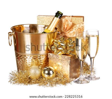 New Year's Eve. Champagne and Presents. Celebration - stock photo