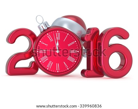New Year's Eve 2016 Christmas ball alarm clock decoration Santa hat bauble ornament red white calendar date banner. Traditional wintertime holidays midnight future countdown beginning time. 3d render - stock photo