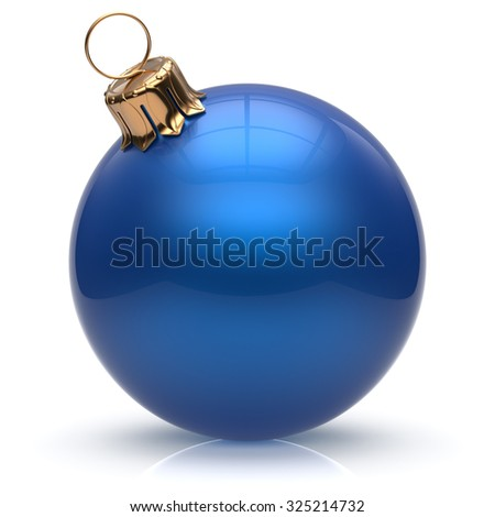 New Year's Eve Christmas ball bauble wintertime decoration blue sphere hanging adornment classic. Traditional winter ornament happy holidays Merry Xmas event symbol glossy blank. 3d render isolated - stock photo