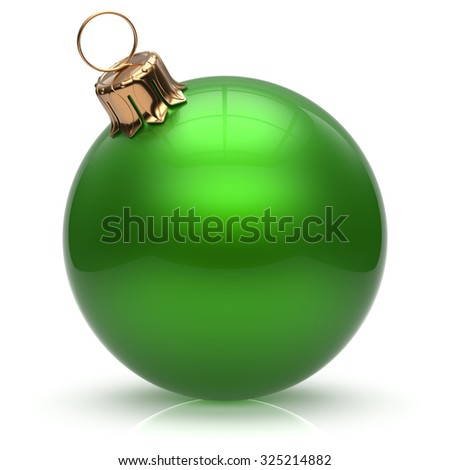 New Year's Eve Christmas ball bauble wintertime decoration green sphere hanging adornment classic. Traditional winter ornament happy holidays Merry Xmas event symbol glossy blank. 3d render isolated - stock photo